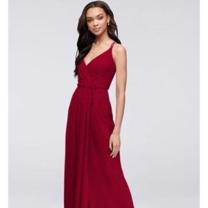 David's Bridal LAPIS Long Georgette Wrap Dress